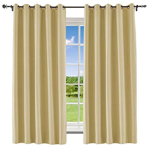 Macochico Blackout Curtain for Bedroom Bronze Grommet Polyester Cotton Room Darkening Drapes Liner for Living Room Bedroom Meetingroom,Sahara Sun 84W x 84L Inch (1 Panel) (Sahara Cotton Curtain)