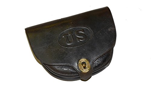 Atlanta Cutlery Replica Dyer Leather Cartridge Box, Fleece Lined (Black) Civil War Revolver