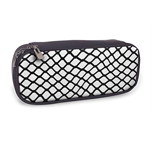 Yunshm Curved Mesh Iron Bar Personalized PU Leather Pen Bag Pencil Case Stationery Pouch Bag Big Capacity Waterproof for Office