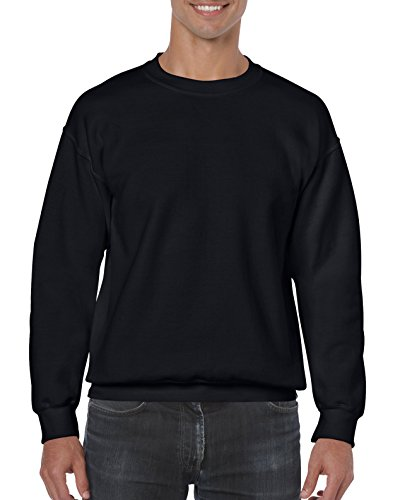 Gildan Men's Fleece Crewneck Sweatshirt Black Large Black Crewneck Sweatshirt