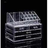 TSM Organizador Maquillaje Acrilico Envases Cosmeticos Brochas, Organizador Cajones, Transparente, 4 Cajones, Ideal para Broc