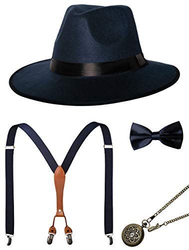 1920s Mens Accessories Gatsby Gangster Costume Accessories Set Manhattan Fedora Hat Suspenders Bow Tie Pocket Watch (7-Navy Set)