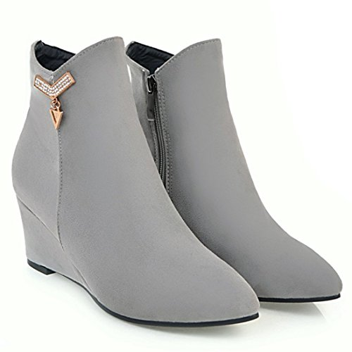 Grey Toe Booties Boots Zip Heel Ankle Ladies Womens Pointed Shoes Mid Wedge Vitalo ExTW471wWq