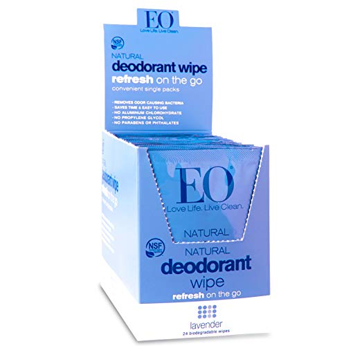Deodorant Wipes Lavender EO 24 Packets Box
