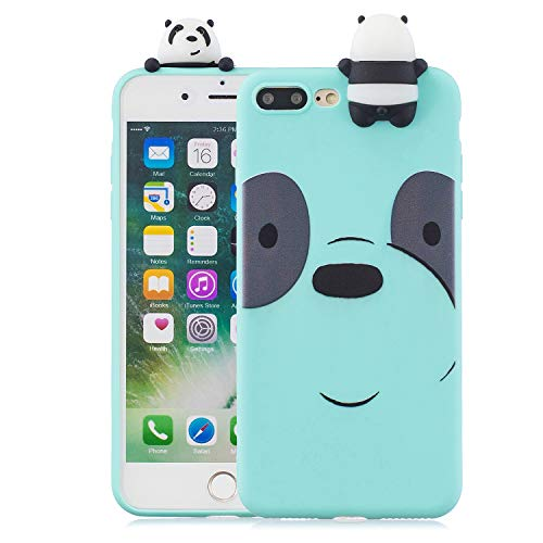 Price comparison product image Soft Silicone Case for iPhone 7 Plus / 8 Plus 5.5 inch, Aoucase Slim Thin 3D Animals Pattern Gel Rubber Drop Protection Protective Case with Black Dual-use Stylus, Blue Bear