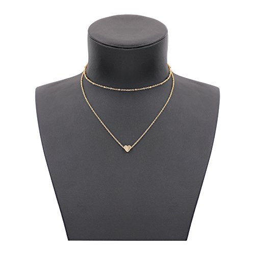 Gudukt Dainty Heart Necklace Handmade 14K Gold Fill Beaded Simple Choker Necklace for (14k Gold Beaded Necklace)