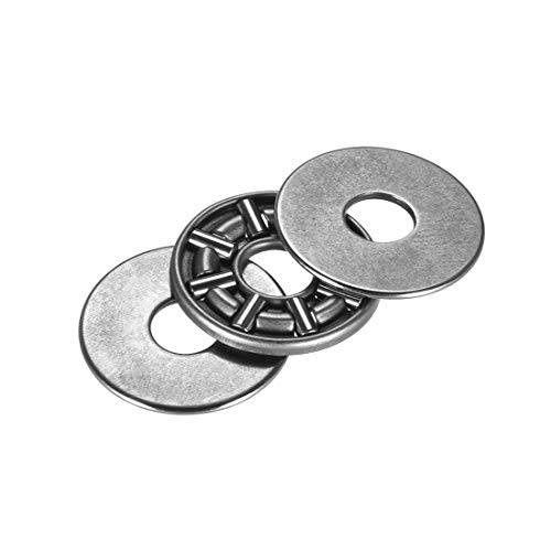uxcell AXK0619 2AS Needle Roller Thrust Bearings with 2 Washers, 6mm Inner Diameter, 19mm OD, 4mm of Thickness, GCr15 Hardness 2 Pcs