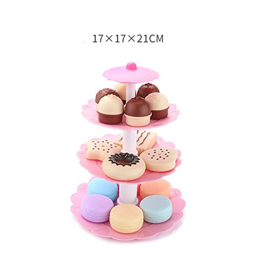 ETbotu Cute 3-Tier Stacked Dessert Tower Simulation Cake Macarons Biscuits Toys Set for Kids