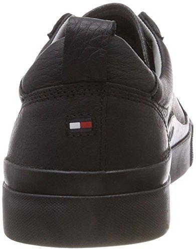 da Black Leather Scarpe Hilfiger Flag 990 Nero Sneaker Detail Ginnastica Uomo Tommy Basse xpwqPYHt