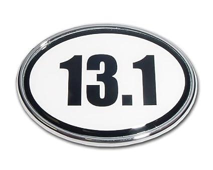 Half marathon 13 1 premier metal auto emblem white oval shape
