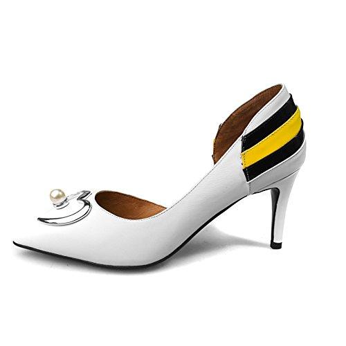 Nine Seven Cuero Moda Puntiagudos Zapatos con Tacón Aguja con Perlas para Mujer blanco