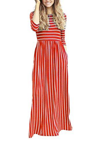 YACUN Damen 3 / 4 Ärmel Gestreiften Langen Maxi Beach Party Kleid ...