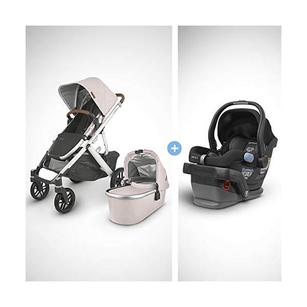 UPPAbaby Vista V2 Stroller – Alice (Dusty Pink/Silver/Saddle Leather) + Mesa Infant Car Seat – Jake (Black)