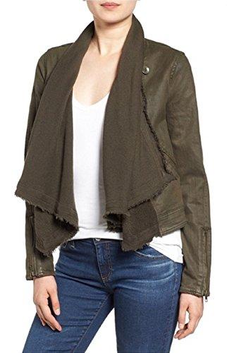 Free People Drape Front Coated Jacket, Olive, Size 6