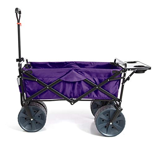 Mac Sports Heavy Duty Collapsible Folding All Terrain Utility Beach Wagon Cart with Table (Purple/Black)