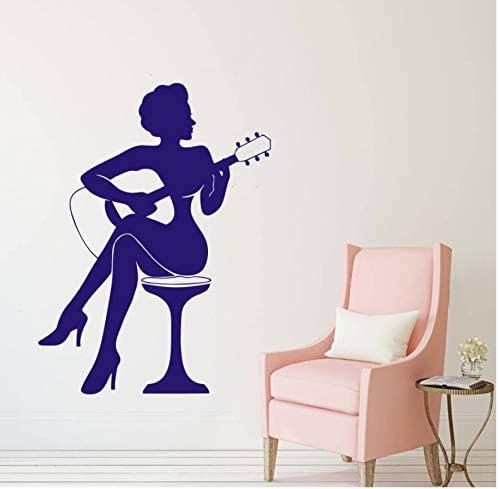 Mrlwy Decoración De Bar Mujer Jugar Guitarra Silueta Etiqueta De ...