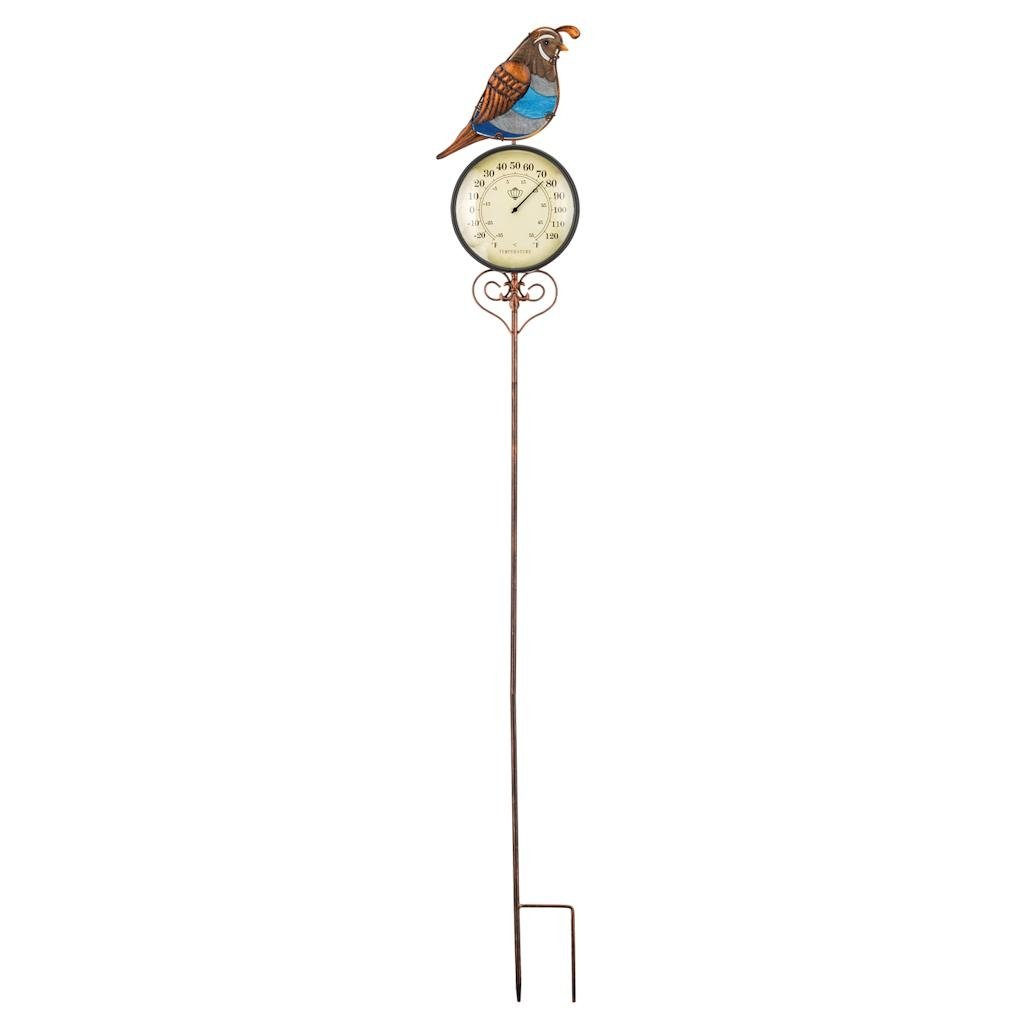 Regal Art & Gift 7 Inches x 1.5 Inches x 46.75 Inches Thermometer Garden Stake Quail