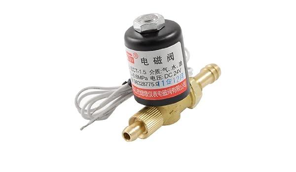 eDealMax latón Conector de manguera DE 2 maneras soldadura de la máquina rotativa de la válvula de solenoide: Amazon.com: Industrial & Scientific