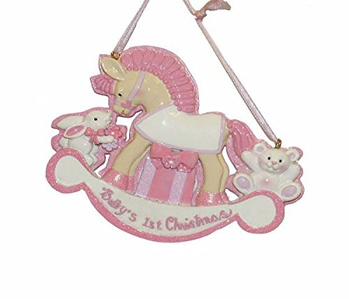 BABY'S 1ST CHRISTMAS'' ROCKING HORSE FOR GIRLS ORNAMENT FOR PERSONALIZATION