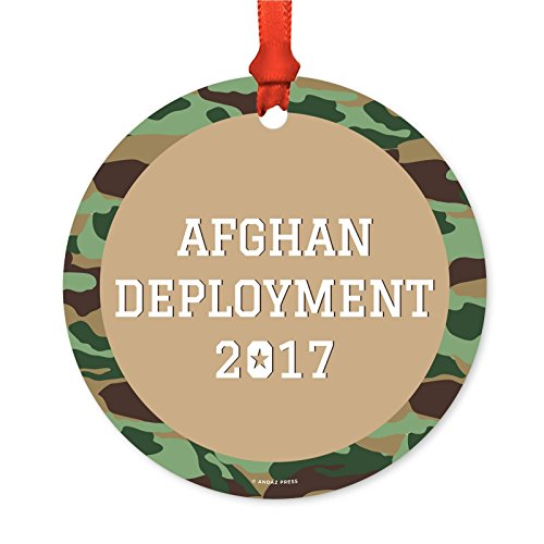 - Andaz Press Personalized Military Round Metal Christmas Ornament, Afghan Deployment 2019, 1-Pack, Includes Ribbon and Gift Bag ...