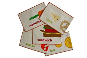 graze organic Deluxe 5 Pack Organic Reusable Snack Bags, Sandwich, Vegetable and Fruit Snack (Discontinued by Manufacturer)