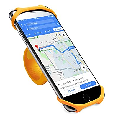Cyclepartner Universal Phone Mount for Bike Non-Slip Shockproof German Silicone Cellphone Bicycle Motorcycle Holder Mobile Smartphone Compatible for iPhone X, XS MAX,Plus 8 7 6 5,Galaxy,Note (Mango L)