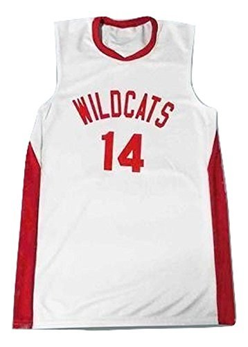 borizcustoms Zac E Troy Bolton 14 East High School Wildcats White Basketball Jersey (58) ()