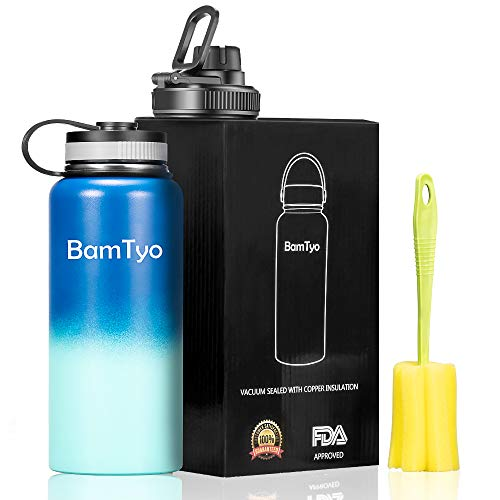 - BamTyo 32 Oz Stainless Steel Water Bottle/Cups, Wide Mouth Double Walled Vacuum Insulated Leak Proof Sports Thermos,Powder Coated Travel Mug with 2 BPA Free Lids,Hot for 24 hours,Cold for 12 hours