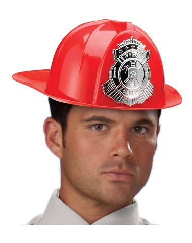 Forum Novelties 68165 Deluxe Fireman's Helmet Adult Accessory, Standard, Red