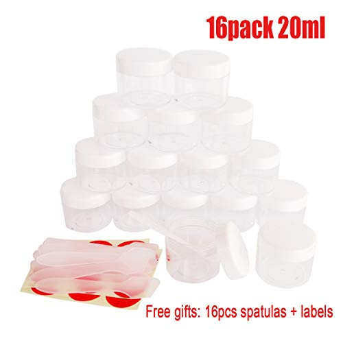 GreatforU 16pack 20g Empty Sample Jars, 20ml Small Plastic Refillable Cosmetic Container for Makeup Eyeshadow Jewelry Cream Slime Bath Lotions Oils, Clear Round Pot w/White Lid, Free Spatulas +Label - Moisturising Bath Essence