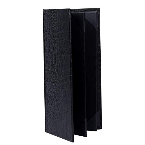 (3PCS Leather Menu Holder Menu Covers Book Style,6 View (11.6×4.9 inch/Unique Style))