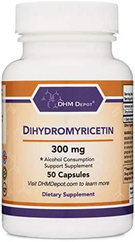 Dihydromyricetin (DHM) 50 Capsules, 300mg - Hangover Prevention Pills, Cure Hangovers Before They Start (Third Party Tested) Made in The USA by Double Wood Supplements (DHM Depot)