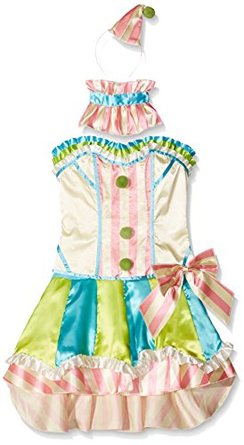 Clown Halloween Costume Uk (Smiffy's Women's Fever Deluxe Vintage Clown Costume, Corset, White, Skirt, Attached Underskirt, Collar and Mini Hat, Fantasy, Fever, Size 6-8, 45367)
