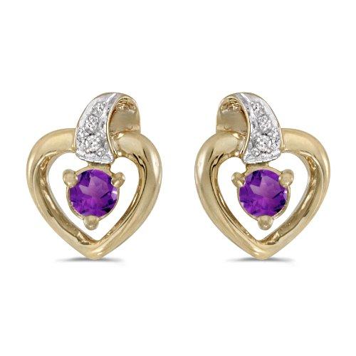 Amethyst Cluster Heart Post Earrings - 2