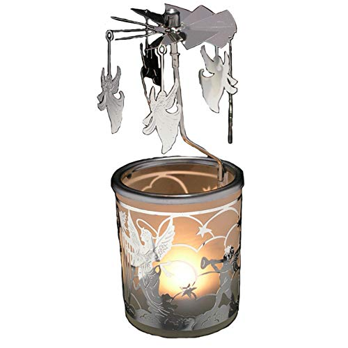 BANBERRY DESIGNS Spinning Candle - Silver Angel Charms Spin Around This Frosted Glass Scandinavian Design Candle Holder - Rotary Candle holder - Carousel Candles - Glass Angels Candle Holder