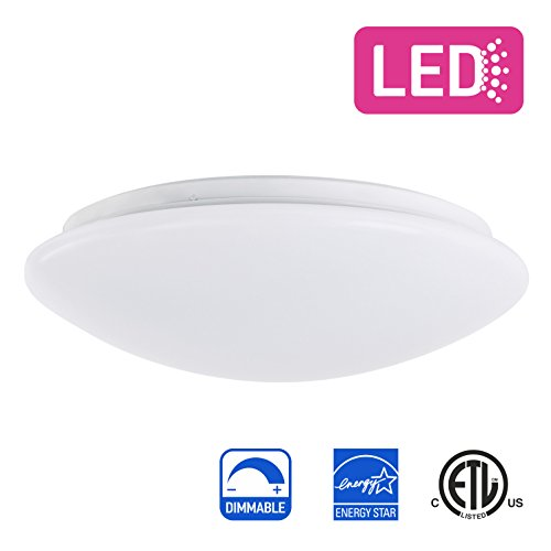 IN HOME 14-inch LED Flush mount Ceiling Light MS Series 25W (125 Watt equivalent), Dimmable, 5000K (Daylight), 2053 Lumens, White Finish with Acrylic shade, ETL and ENERGY STAR listed by IN HOME