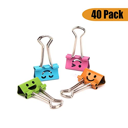 NUOLUX Binder Clips Metal Smiley Face File Paper Clip Clamp Mixed Color Pack of 40