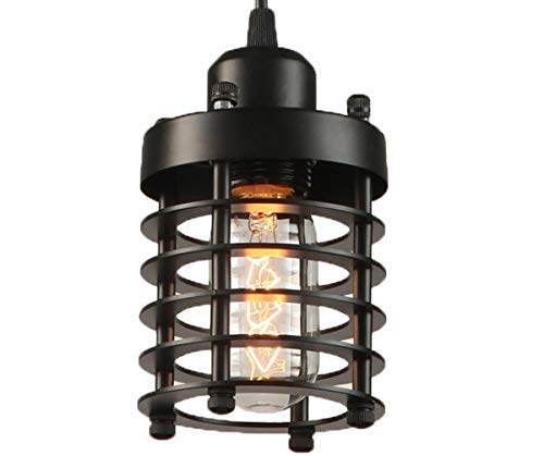 Licperron Industrial Pendant Light, Edison Hanging Caged Pendant Lighting Fixture Black Mini Pendant Light Vintage Ceiling Lights for Home Kitchen Lighting 1 Pack by Licperron