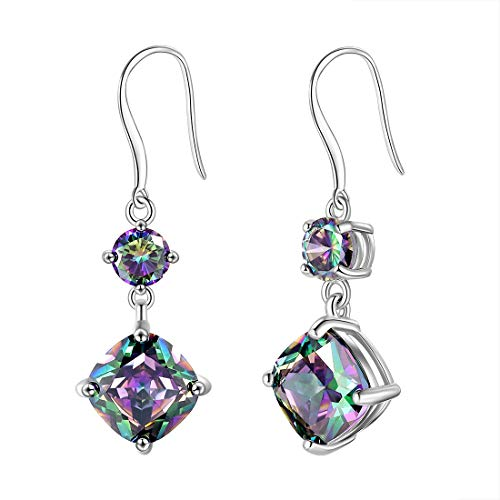 Aurora Tears Mystic Rainbow Topaz Dangle Drop Earrings 925 Sterling Silver Women Crystal Hook Earrings Girls Dating Gift - Hook Drop Earrings Silver
