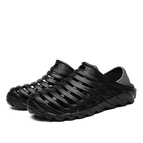 Slip Clogs Athletic (Cyiecw Unisex Garden Clogs Sandals Lightweight Breathable Slippers Non Slip Quick Drying Beach Shower Shoes (10.5 US Men/12.5 US Women, Black))
