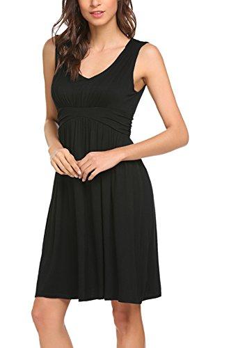 OURS Women's Casual V Neck Chiffon Dress Spaghetti Strap Summer Dress(M, Black) (Pleated Dress Knit)