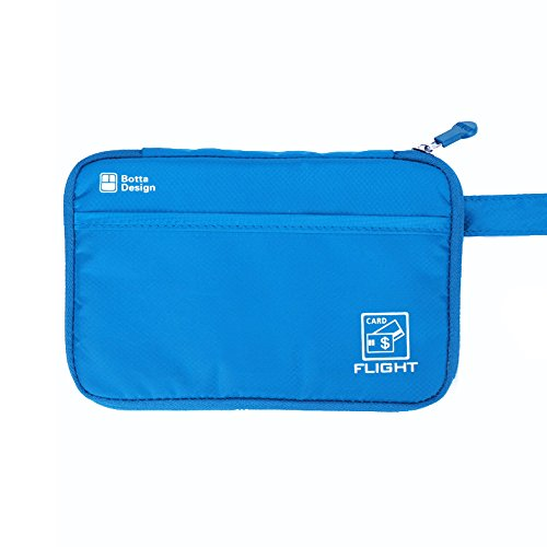 Passport Wallet Travel Pouch Cards Organizer Zipper Case Phone Cash Holder (Blue)