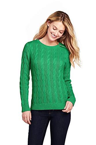 (Lands' End Women's Petite Drifter Cotton Cable Knit Sweater Crewneck, M, Vibrant Clover)