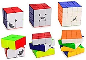 D-FantiX Cyclone Boys 2x2 3x3 4x4 Speed Cube Set, Stickerless Magic Cube Puzzles Toy Bundle Pack of 3