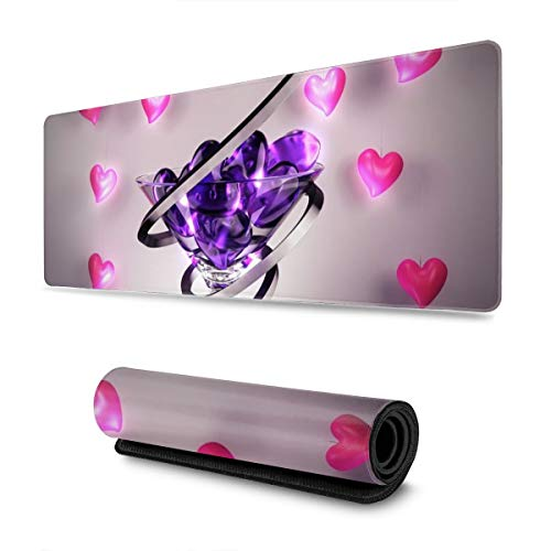 Large Gaming Mouse Pad 31.5 X 11.8in, Wine Glass Love Heart Ergonomic Mouse Pad, Anti-Fray Non-Slip Rubber Base Extended Mat Keyboard Desk Pad for Professional Esports/Office/Computer/Laptop