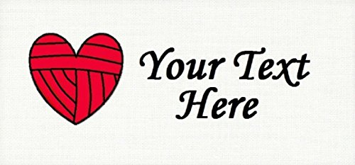 Red Ball of Heart Yarn – Cotton Fabric Labels for Handmade Items/Customized Garment Clothing Size Fabric Labels/Personalized Printed Fabric Sew Tag Labels/Quilt, Crochet, Knit, Sewing by Yarn Hookers
