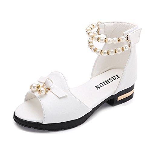 Girls Open Toe Sandals Glitter Pearl Ankle Strap Sandal Princess Flat Shoes(Toddler/Little Kid) by GIY