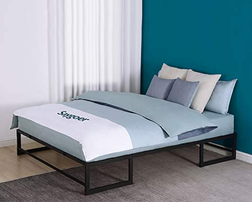 SAYGOER Queen Bed Frame Base Metal Platform Mattress Foundation Eyeglasses Shaped Frame No Box Spring Needed Heavy Duty Steel Slat Support Underbed Storage Space Noise Free Non-Slip Easy Assembly