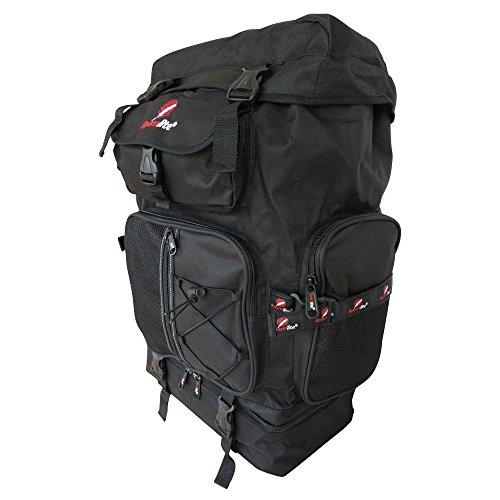 Large Camping Backpacks Bags - 60 to 65 Litre Ltr Size Backpacking Backpack - Great Festival Rucksack - Duke Of Edinburgh D of E Size Rucksacks - Top Loading Bag - Lightweight 1.1 kg - 59cm x 33 x 20 (Black)