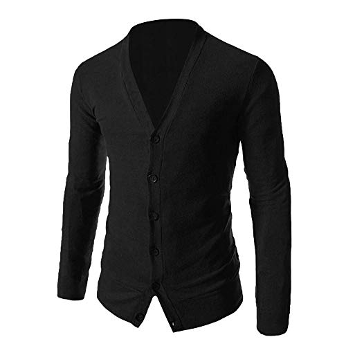 Sunhusing Men's Solid Color V-Neck Long Sleeve Button Buckle Down Knit Sweater Cardigan Knitwear Top
